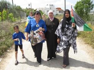 Women in solidarity: Luma (Abduallah's daughter), MEP (former VP) Luisa Morgantini, wife of Adib (another Bil'in prisoner), friend.